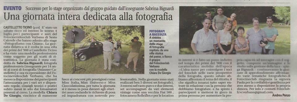 """Workshop """"Fotografiamo con Chiara""""  - da: la Prealpina del 17 luglio 2015"""